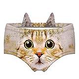 JINKAIJIA Women's Brief Panties 3D Animal Prints Briefs with Cute Ears (EDNK007M)