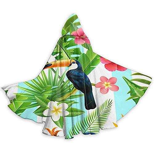 Tropisches Tier Tukan Vogel Pflanze Weihnachten Halloween Hexe Party Mit Kapuze Erwachsene Vampire Hochzeit Umhang Schwarz Weihnachten, 59 Zoll (150,40 cm)