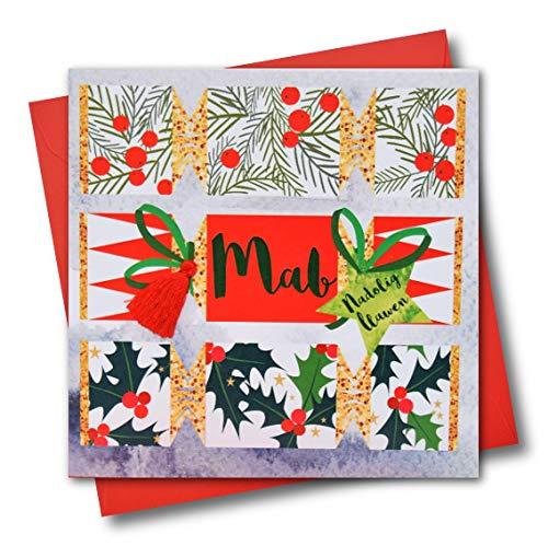 """Claire Giles Tarjeta de felicitación WXTA018 con texto en galés """"Son, Happy Christmas Crackers - Borla"""""""