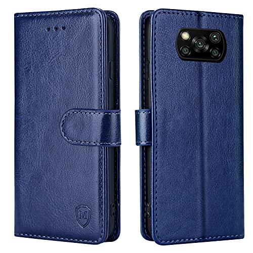 xinyunew Handyhülle für Xiaomi Poco X3/Poco X3 Pro Hülle,Xiaomi Poco X3 Pro Hülle, Handyhülle Leder Flip Hülle Ständer PU Brieftasche Schutzhülle für Xiaomi Poco X3 NFC Cover (6,67 Zoll),Blau