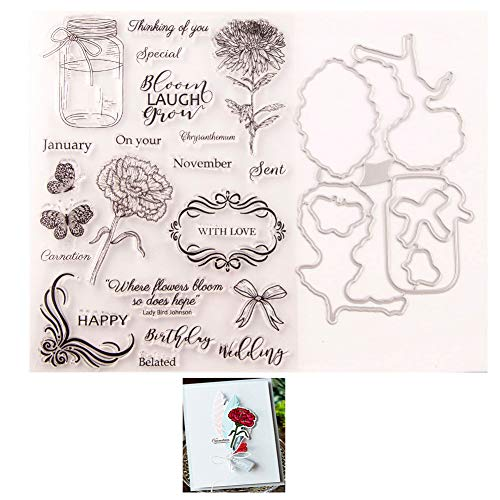 LZBRDY Flower Butterfly Bow Wishing Bottle Clear Stamp and Die Set for Card Making Scrapbooking Happy Birthday Wedding Special Words Stamps and Dies