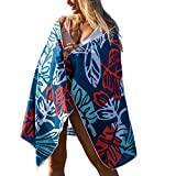 CGear Sand-Free Towel, Super-Soft, Absorbent, and Quick-Dry (Blue Floral)