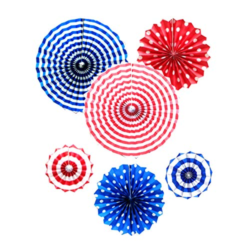 Patriotic American Party Hanging Paper Fans Decorations White Red Blue Round Pattern Paper Garlands Decoration for Birthday Party Baby Shower Memorial day,Veterans day, Labor Day Decorations, Set of 6