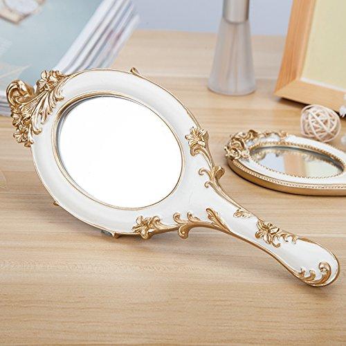 Miroir de beauté Maquillage Miroir Agrandissement Vanité Miroirs cosmétiques Miroir de toilette miroir créatif de résine miroir de maquillage portatif miroir à main élégant blanc B 24,5 * 10,5 cm