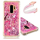 LEECOCO Case Galaxy S9 Bling Glitter Liquid Sparkle Floating Crystal Floral Printing Flower TPU Silicone Rubber Bumper Shockproof Protective Case Cover Samsung Galaxy S9 YB-LS Cherry Blossom