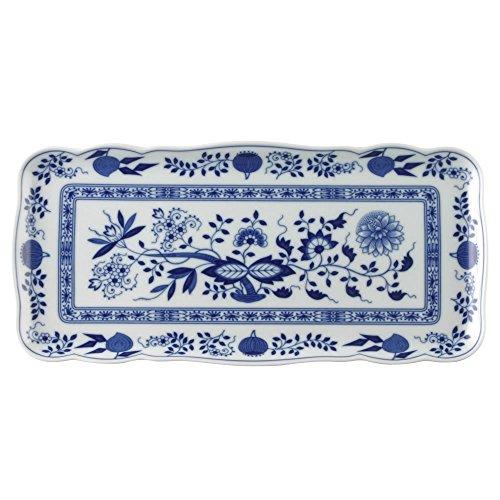 Hutschenreuther 02001-720002-12844 Zwiebelmuster Kuchenplatte, rechteckig, 33 x 15,5 cm, blau