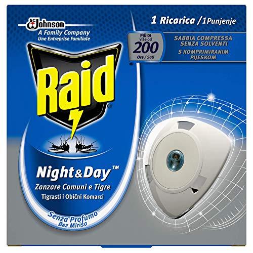 Raid Night & Day Ricarica, Efficace per 10 Giorni, Antizanzare Elettrico, Multipacco da 4 Confezioni, 1 Ricarica per Ogni Confezione