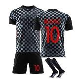 10 Modric und 7 Rakitic Trikot Benutzerdefinierte Fußballuniform WM Kroatien, Erwachsene Fußball Trikot Kits Fußball Trikot T-Shirt und Shorts-10#Black-S