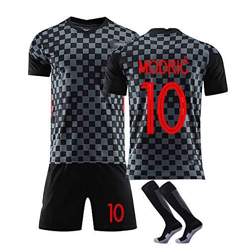 10 Modric und 7 Rakitic Trikot Benutzerdefinierte Fußballuniform WM Kroatien, Erwachsene Fußball Trikot Kits Fußball Trikot T-Shirt und Shorts-10#Black-M