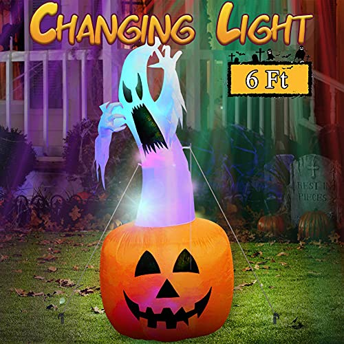OurWarm 6ft Halloween Inflatable Blow Up Ghost on Pumpkin with Color Changing LED Inflatables Halloween Outdoor Decorations