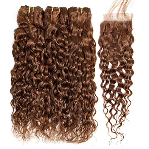 FEEL ME Color 30 Brown Brazilian Hair Weave Water Wave Bundles with Closure Unprocessed Virgin Human Hair Bundles with Closure 3Pcs Wet and Wavy Hair Extension(14 16 18+14)