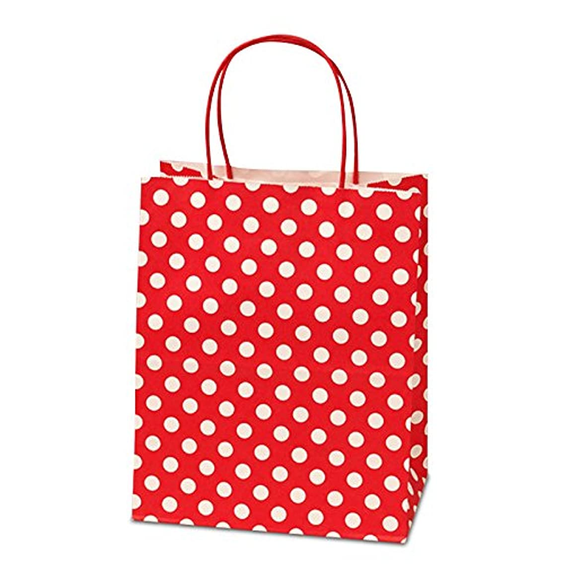 Panda Party Supplies Twisted Handle Matte Red Polka Dot Paper Shopping Gift Bags (12)