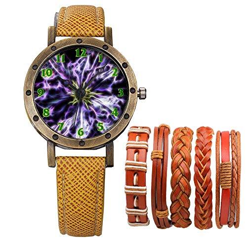 Meisjes Merk Retro Brons Vintage Lederen Band Dames Meisje Quartz Horloge Armband 6 Sets Abstract Bloemen 112.Clematis, Bloem, Plant, Flora, Paars