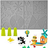 3D Pen Mat, 3D Printing Pen Mat Silicone Basic Stencils Templates Pad with 3 Finger Protectors 3D Pen Accessories Drawing Tools 3D Printing Pen Pad for 3D Pen Drawing Beginners Kids Adults (Grey)