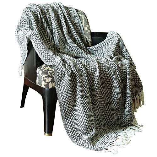 Decke Baumwolle - grau Decke warme Decke Kohlengrau dekorative Reversible Decke für Sofa und Couch weichen 100% Baumwolle und Sofa Decke Wohnzimmer 127 cm x 152 cm
