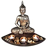 Thai Buddha Tea Light Candelabro Candelabro Cabeza De Buda Escultura Zen Set De Jardín Candelita Candelabros Bandeja Accesorios Para El Hogar Decoración