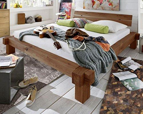 SAM Balkenbett 200x200 cm Jonas, Fichten-Holz geölt, massives Holzbett, geteiltes Kopfteil
