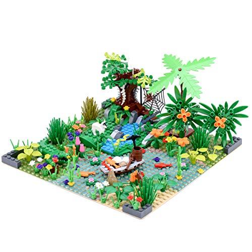 GILE Placa de construcción personalizada para selva tropical, bosque tropical con animales y plantas, juego de construcción, compatible con Lego