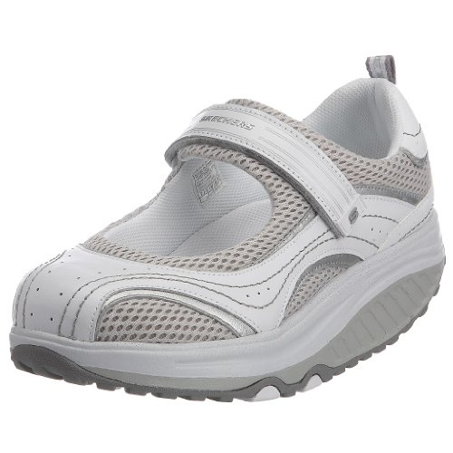 Skechers Shape-ups Sleek Fit - Zapatillas tonificadoras Estilo Merceditas para Mujer, Color Blanco, Talla 39