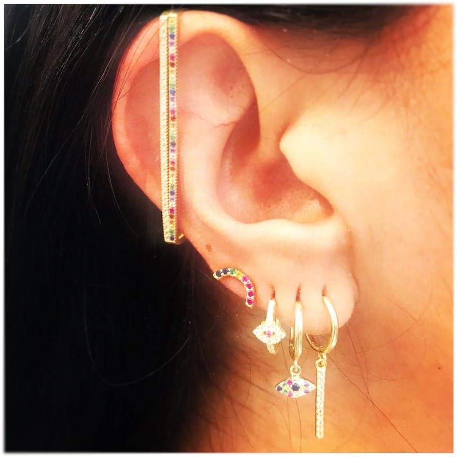 Fashion Women Jewelry 1 Piece Ear Cuff no Piercing Ear Clip White Rainbow cz Rectangle Cuff Earring
