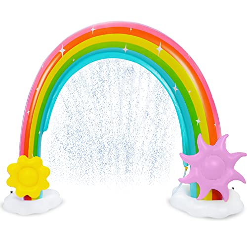 Inflatable Rainbow Water Sprinkler More Stable Inflatable Rainbow Yard Larger Outdoor Summer Toys with Detachable Flower and Sun Inflatable Water Park Fun Backyard Fountain Rainbow Sprinkler for Kids