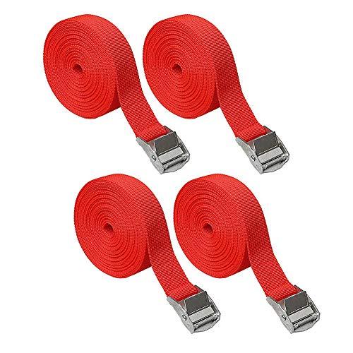 Zurrgurte SUNSHINETEK Verstellbare Ratschengurte Hochleistungs spanngurte mit Schnellverschluss für Gepäckgurte (Rot, 4er Pack, 5M * 25mm)