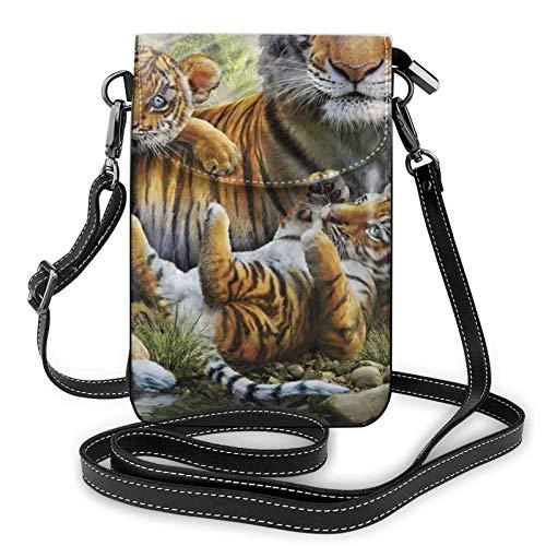 Bolso ligero del teléfono celular de la PU, bolso pequeño de la selva de los tigres de la selva, bolso del hombro de la bolsa de hombro para las mujeres