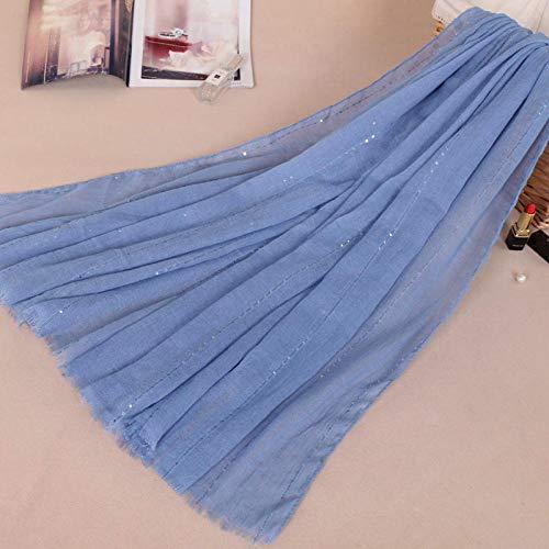 Schals für Frauen Schal Paillettenschal aus Baumwolle, einfarbiger, langfarbiger Schal mit Haarfarben für Frauen-13# Denim blau_180-90cm