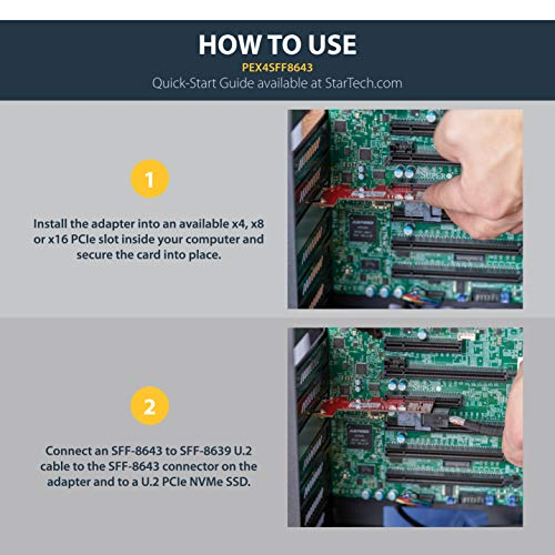 "StarTech.com 4-Lane PCI Express to SFF-8643 Adapter for  PCIe NVMe U.2 SSD - U.2 2.5"" NVMe SSD Adapter (PEX4SFF8643)"
