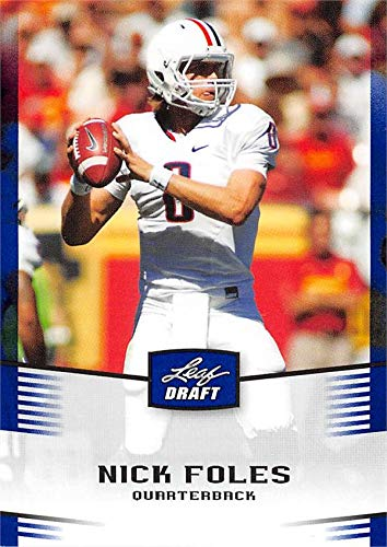Nick Foles football card (Arizona Wildcats, Philadelphia Eagles Super Bowl Champion MVP) 2012 Leaf Draft Blue Rookie #37