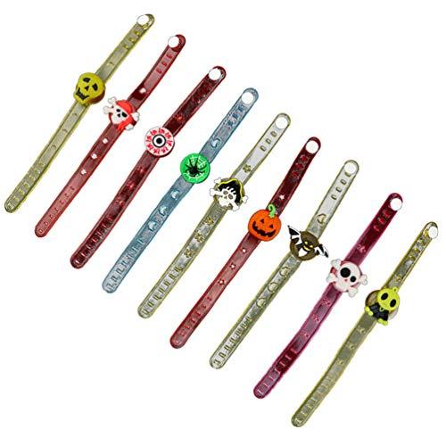 Amosfun 12 pulseras de Halloween iluminadas con luces brillantes, correa de muñeca LED brazaletes Flash Sports Wristband brilla en la oscuridad juguetes para regalos fiesta (color surtido)