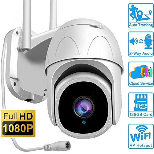 Cámara Domo de 1080p, cámara CCTV de Alta definición para Exteriores Cámara infrarroja inalámbrica WiFi Ptz, IP66 a Prueba de Agua/Zoom 4X / Alarma de Sirena/Nube de Seguimiento en Forma Humana