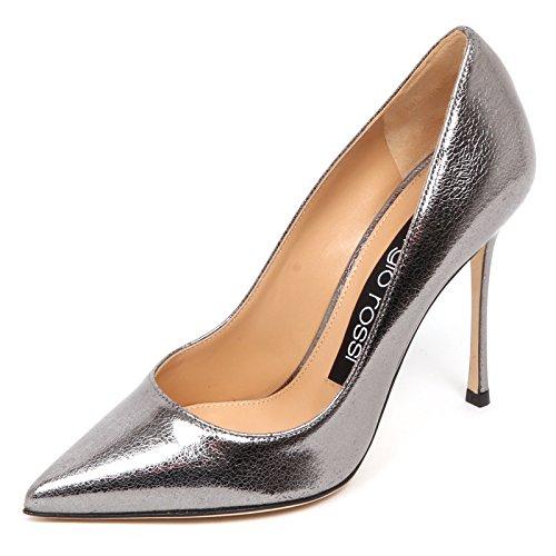 Sergio Rossi E4742 Decollete Donna Grey lamé Scarpe Cracked Effect Shoe Woman [40]