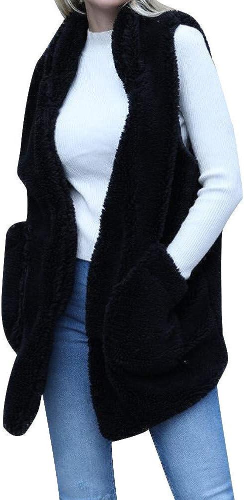 Women Lady Faux Fur Solid Hoodie Sleeveless Warm Vest Waistcoat Outwear Tops