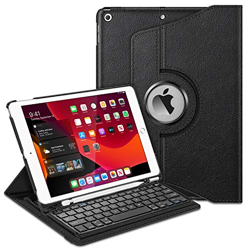 Fintie Keyboard Case for iPad 7th Generation 10.2' 2019-360 Degree Rotating Smart Stand Cover w/Pencil Holder, Built-in Wireless Bluetooth Keyboard for iPad 10.2' Tablet, Black