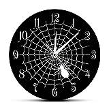 Reloj de Pared de Cuarzo Negro con Tela de araña, Carteles de Fiesta de Halloween, Tela de araña de Terror, decoración de Pared, Reloj de Pared Moderno, Movimiento silencioso