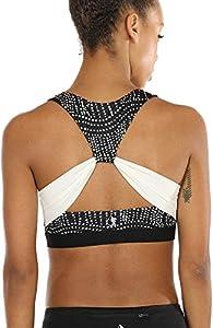 icyzone Workout Yoga Sujetador Deportivo Ejercicio Fitness Ropa Interior para Mujer (M, Cadena de Perlas)