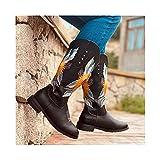 SJDFK Bota Occidental para Mujer, Zapatos Ecuestres De Caballero De Gran Tamaño Bordados, Zapatos De Cuero De Tacón Medio para Montar En Motocicleta,Brown-36
