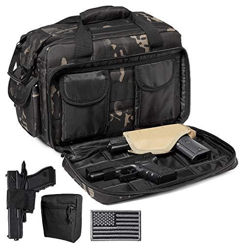 DBTAC Gun Range Bags Deluxe Middle Size | Tactical 2~4 Pistol Shooting Range Duffle Bag with Lockable Zipper for Handguns and Ammo (Black Camo)