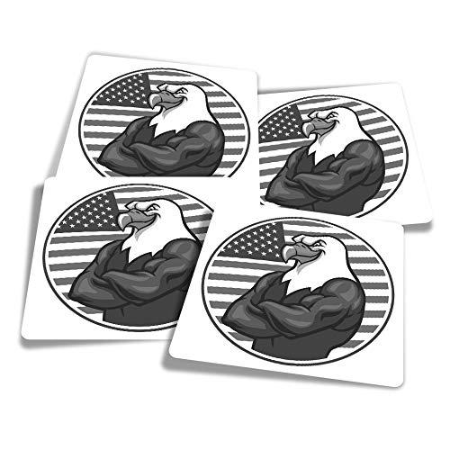 Pegatinas de vinilo (juego de 4) 10 cm – BW – American Bald USA Eagle Flag divertidas calcomanías para ordenadores portátiles, tabletas, equipaje, reserva de chatarra, frigoríficos #39892