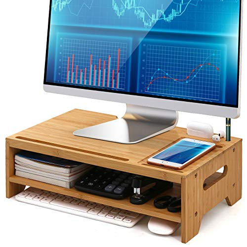 2 Tier Monitor Stand Riser, Pezin & Hulin Computer Monitor Riser Bamboo, Wood Desk Storage Organizer for Computer, Laptop with Phone Tablet Holder and Cable Management.