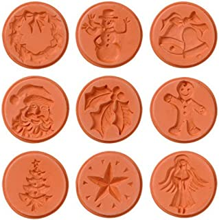 JBK Pottery Christmas Cookie Stamps, Set of 9