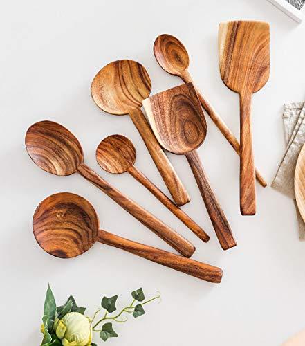 7 Stuks Houten Turner Spatel Rijst Lepel Grote Soep Scoop voor Koken Hout Keuken Kookgerei benodigdheden