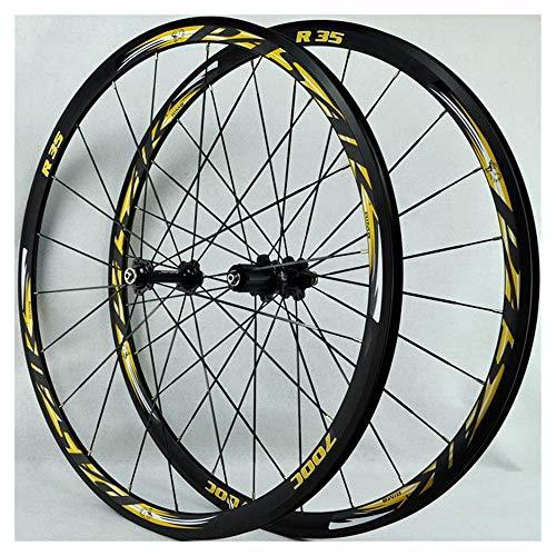 Ruote per bici 700C, set di ruote per bici da strada BMX (parte anteriore posteriore) Cerchio in lega a doppia parete da 30 mm Cerchione per bicicletta Ruota per bici da strada V Freno a rilascio rap