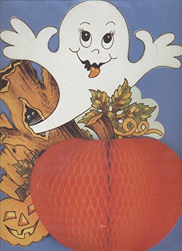 Décoration citrouille alvéolée en volume et découpe de fantôme Halloween decoration