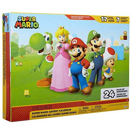 "SUPER MARIO Nintendo Advent Calendar Christmas Holiday Calendar with 17 Articulated 2.5"" Action Figures & 7 Accessories, 24 Day Surprise Countdown with Pop-Up Environment [Amazon Exclusive]"