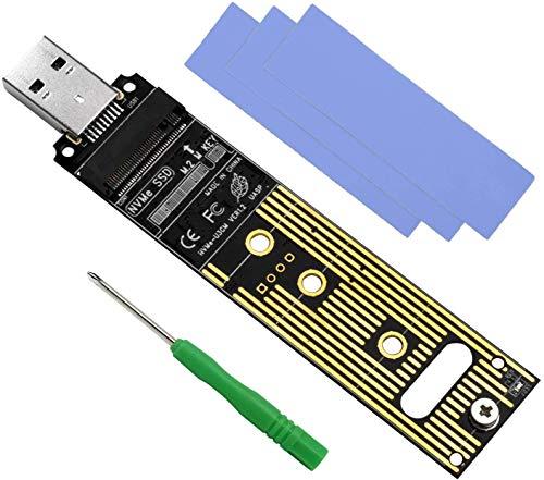 QNINE M.2 Adapter, NVME USB Adapter, Kein Kabel benötigt, Hochleistung 10 Gbps USB 3.1 Gen 2 Brückenchip, Verwenden Sie als tragbare SSD, M.2 SSD Adapter M Key