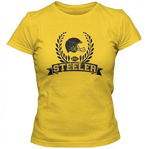 Steeler Football-Helm Premium T-Shirt | American FootballShirt | Super Bowl | NFL | Frauen | Shirt, Farbe:Gelb (Gold L191);Größe:M