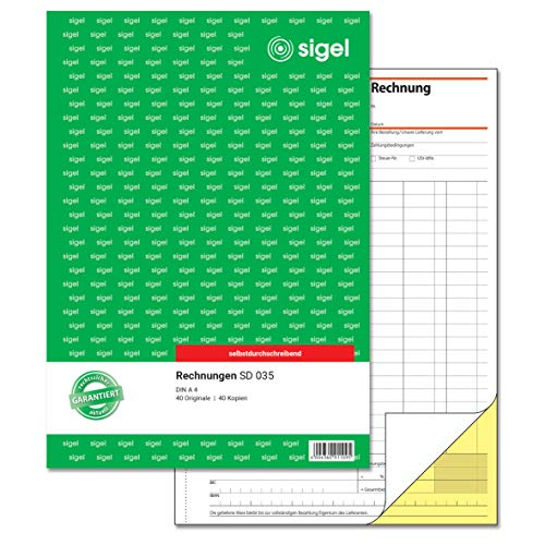 SIGEL SD035 Rechnungen, A4, 2x40 Blatt, selbstdurchschreibend