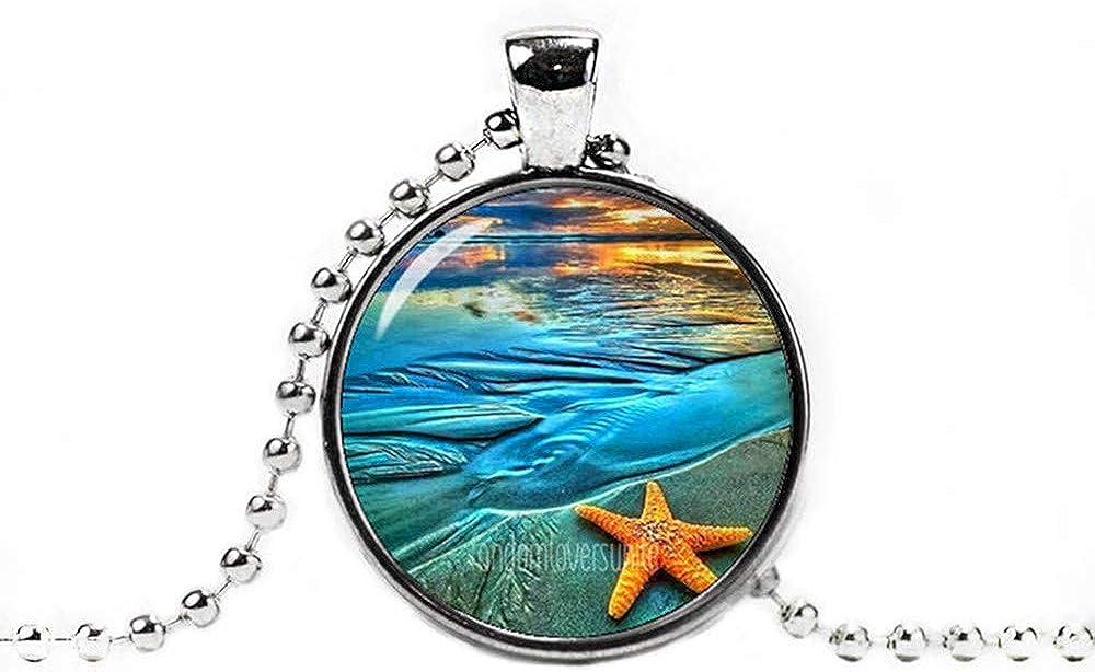 Dandelion Starfish Pendant, Starfish Necklace, Starfish Jewelry ,Photo Glass Pendant